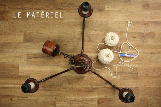 Tuto: un lustre ancien métamorphosé avec de la corde 1