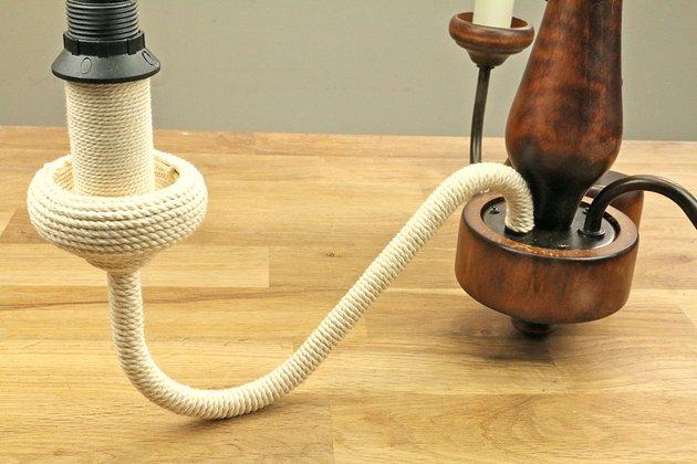 Tuto: un lustre ancien métamorphosé avec de la corde 3
