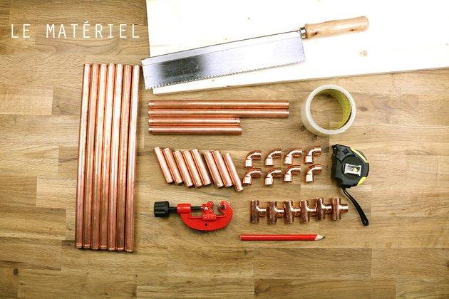 Tuto: un petit meuble en bois et tubes en cuivre 1